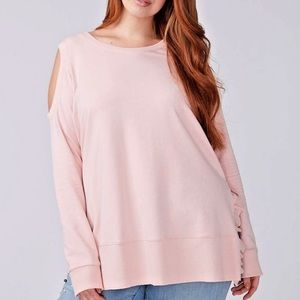 Lane Bryant Cold Shoulder Ruffle Sides Sweatshirt
